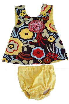 8-12 Months: Brown Flowers Pinafore Dress by BCsBitsOfJoy on Etsy