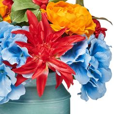 """Free 2-day shipping. Buy The Pioneer Woman Milk Can Floral Arrangement, 12.5"""" at Walmart.com Ethel Merman, Pioneer Woman Kitchen, Milk Cans, Light Blue Color, Blue Hydrangea, Faux Flowers, Spring Colors, Geraniums, Home Decor Items"""