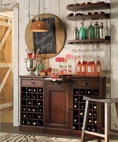 Bar idea #2 - taller credenza with shelving/drink storage and picture space. Decor inspiration