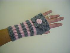 Grey+ideas+for+crochet   crochet wrist warmers fingerless mittens in grey gray fingerless ...