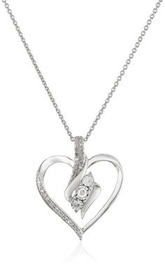 Sterling Silver Diamond Heart Pendant Necklace (1/4 cttw), 18""