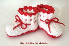 """Gr.17-23, """"Tracht, rot"""", Babysöckchen,Schühchen von cleos-perlen-handmade auf DaWanda.com"""