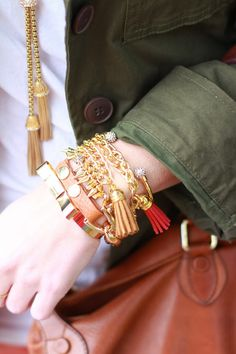Gold arm candy.