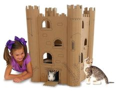 Smartkitz Cardboard Pet Rabbit Castle Large 55x55x80cm