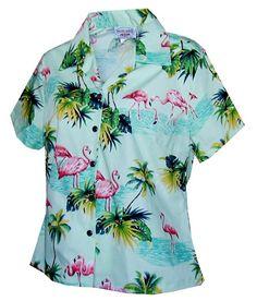 693160b7e908  Plus Size  Flamingos Sage Cotton Women s Fitted Hawaiian Shirt Flamingo  Shirt