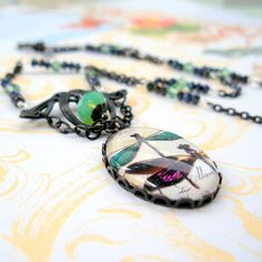 Dragonfly Cabochon Necklace with Green and Purple by rhealeanne, $45.00