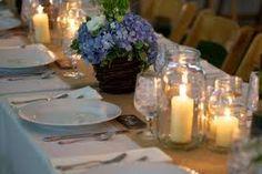 blue, candles, jars, burlap