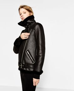 Image 3 of FAUX FUR COLLAR BIKER JACKET from Zara