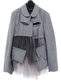 Cut up a jacket as pictured and insert co-ordinating, gathered tulle as shown. Fashion Art, High Fashion, Womens Fashion, Fashion Design, Fashion Trends, Ropa Upcycling, Deconstruction Fashion, Design Textile, Mode Hijab