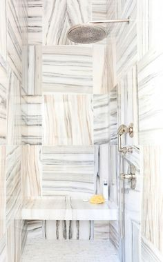 Marble tiled shower