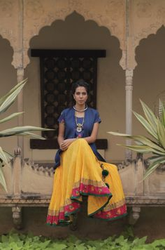Yellow #Lehenga With Blue #Blouse.