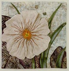 The White Poppy, embellished quilt by Thom Atkins