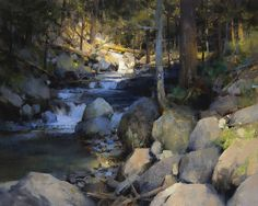 A landscape painting by painter Mark Boedges. Landscape Art, Landscape Paintings, River Painting, Great Paintings, Traditional Paintings, Pictures To Paint, Painting Techniques, Art Oil, Painting Inspiration