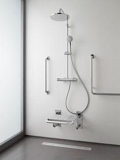 Tip-up shower folding seat for the disabled Ada Bathroom, Steam Showers Bathroom, Bathroom Layout, Bathroom Interior, Small Bathroom, Master Bathroom, Handicap Toilet, Handicap Bathroom, Behindertengerechtes Bad