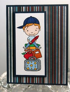 Boy with Lunch Box and Books All Occasion School Card | Laurascrafts - Cards on ArtFire