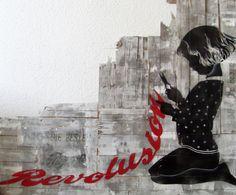 banksy-style street art dit maar dan met een oma die  aan het breien is, breiwerk zijn de woorden
