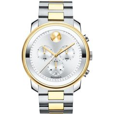 Movado Men's Swiss Chronograph Bold Two-Tone Stainless Steel Bracelet... ($950) ❤ liked on Polyvore featuring men's fashion, men's jewelry, men's watches, mens two tone watches, mens stainless steel watches, mens watches jewelry and mens chronograph watches