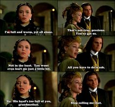 """It occurs to me that Drusilla is the only one in their little group that doesn't experience getting a soul after turning into a vampire. Just as well, I think, since she would probably self-combust.  Angel - 2x07 - """"Darla""""  Grandmother :3"""
