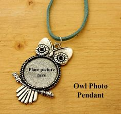 Owl Necklace.  Owl pendant with space for your favorite photo on green leather. Gift for her. Birthday gift. Friendship gift. Handcrafted. by BettyCampbell on Etsy