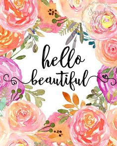 Printables Deocr Hello BeautifuL Printable Artwork Watercolor | Etsy