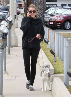 Miley Cyrus - Black in spring. Love her or loathe her, Miley's got casual down pat here (insanely cute dog optional but preferred).