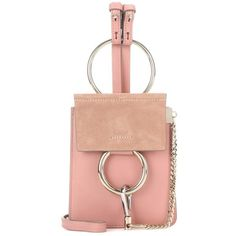 Chloé Faye Mini Bracelet Leather and Suede Bag ($940) ❤ liked on Polyvore featuring bags, handbags, pink, pink purse, red leather purse, leather purse, suede purse and pink leather handbag