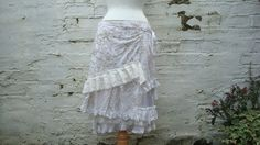 Upcycled Skirt Woman's Clothing Ivory Beige Champagne Lace Cotton Layers Mori Girl inspired