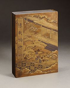 Lacquer Box with Tale of Genji design, made in Japan, circa 1800 Laca Caja con Cuento de Genji diseño, hecho en Japón, alrededor de 1800