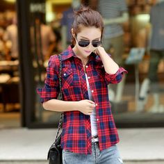 2016 Autumn New Arrival Flannel Plaid Shirt Women Casual Cotton Plus Size Long Sleeve Blouses Shirts Clothing Girl College Style