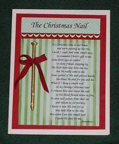 The Christmas Nail Poem to remember the true meaning of Christmas Doing this at christmas time! Christmas Activities, Christmas Printables, Christmas Projects, Christmas Traditions, Christmas Nails, Winter Christmas, All Things Christmas, Holiday Crafts, Holiday Fun