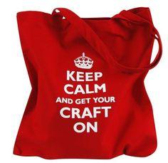 Keep Calm Craft Parody Red Tote bag $10.00