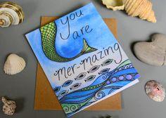 Mermaid Card - Handmade Birthday Blank Cards Ocean Sea Seaside Inspire Encourage Fish Mermazing Amazing