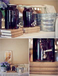Books, Brown Paper, Letter Stamp, Floral Stamp - cute drink dispenser standDes bonbonnes en verre avec robinet disponible en france,  www.lesbricolesdenolou.com