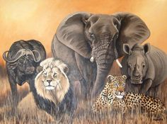 Africa Painting - African Big 5 by Nellie Visser