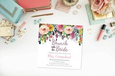 Brunch with the Bride- Bridal Shower- Flowers- Floral- Watercolor- Spring- Summer- Bold Colors- Purple- Pink- Digital Files- Printable- DIY by 4414Designs on Etsy