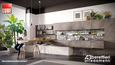 Wooden kitchen with cement finish doors OLTRE by Cucine Lube Bright Kitchens, Elegant Kitchens, Concrete Kitchen, Wooden Kitchen, Modern Kitchen Design, Interior Design Kitchen, Old Kitchen Tables, Style Deco, White Countertops