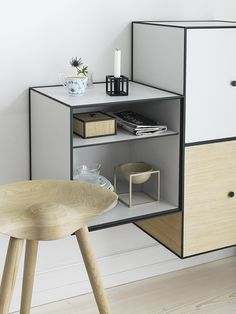 Frame is a flexible storage solution comprised of square boxes in cubic frames. Frame modules can be hung directly on the wall or stand on their own on the floor. The individual combination options are endless. Frame is manufactured in Denmark and created with attention to detail. Frame unites functionality, quality and aesthetics.