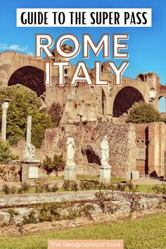 Planning a trip to Rome and looking for some unusual things to do? This is the ultimate guide to buying and using Rome's new S.U.P.E.R. Pass. This special pass gets you into some amazing restricted archaeological sites on Palatine Hill and the Roman Forum. Some of these sites have just recently opened to the public and are still hidden gems and off the readam destinations in Rome. If you're a history buff, the SUPER pass is for you! Rome Itineraries | Best Things To Do in Rome | Roman Ruins Rome Travel, Italy Travel, Rome Itinerary, Day Trips From Rome, Palatine Hill, The Great Fire, Roman Forum, Adventure Bucket List, Imperial Palace