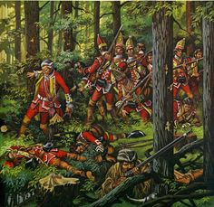 Death of General Braddock, Battle of Monongahela River during the French and Indian War