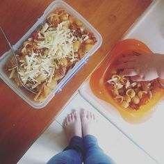Lunch leftovers. Excellent for a Monday :) Someone couldn't wait to dig in..! #PNPAD #photoaday2015 #fromwhereistand