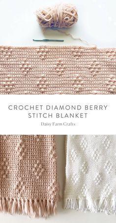 Free Pattern – Crochet Diamond Berry Stitch Blanket More from my siteFree Knitting Pattern für Reversible Elongated Diamond Blanket – Reversible …Diamond Brocade Knit Stitch Pattern with Video TutorialWeekend. Crochet Diy, Crochet Afghans, Love Crochet, Crochet Blanket Patterns, Crochet Crafts, Yarn Crafts, Crochet Stitches, Knitting Patterns, Crochet Blankets