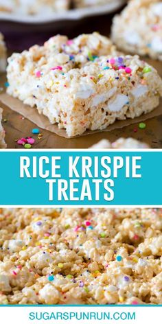 Extra marshmallows, premium butter, a splash of vanilla extract, and plenty of (optional!) sprinkles. That's how I like my Rice Krispie Treats, and I think you're going to love this gourmet twist on this classic treat, too! Rice Krispie Treats, Rice Krispies, Good Food, Yummy Food, Best Food Ever, Spring Recipes, Dessert Bars, Marshmallows, Easy Desserts