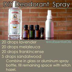 DYI Essential oil deodorant spray