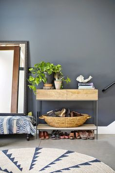 Erin's Layered Oakland Loft Spotted: The Industrial Console in Eri. Living Room Zones, Grey Walls Living Room, Living Spaces, Gray Painted Walls, Dark Grey Walls, Grey Paint Colors, Loft House, Cozy Corner, Room Setup