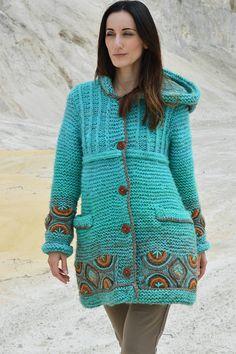 Kabáty - Kabátik Azur Touch - 7091722_ Crochet Coat, Crochet Cardigan Pattern, Crochet Clothes, Knitting Designs, Knitting Patterns, Woolen Dresses, Modern Crochet, Crochet Fashion, Crochet Accessories