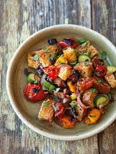 Bread Salad with Charred Tomatoes, Cucumber & Olives