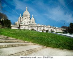 Sacred Heart in Montmartre - Paris - France - stock photo