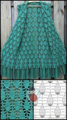 Crochet Cardigan Pattern, Crochet Tunic, Crochet Jacket, Crochet Stitches Patterns, Thread Crochet, Easy Crochet, Crochet Clothes, Free Crochet, Poncho Style