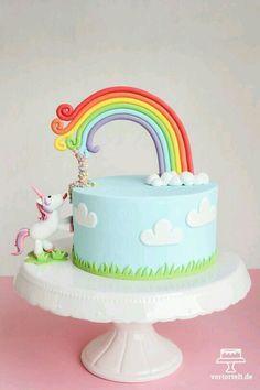 Imagem de unicorn, cake, and rainbow