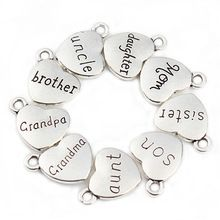 20 pcs/lot Mixed Antique Silver Plated Love Heart Beads Metal ...